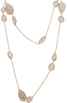 Mother of Pearl Solar Quartz & Long Necklace
