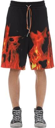 """flames"" Cotton Bermuda Shorts"