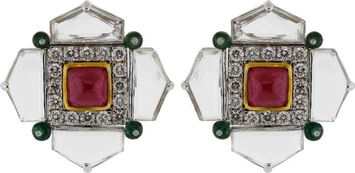 Arunashi Ruby Emerald And Diamond Earrings
