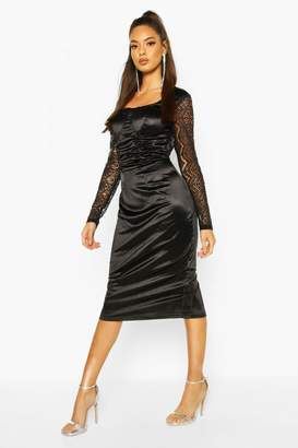 boohoo Stretch Satin Cupped Rouched Midi Dress