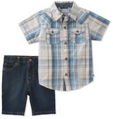 Lucky Brand Plaid Collared Cotton Shirt and Denim Shorts Set