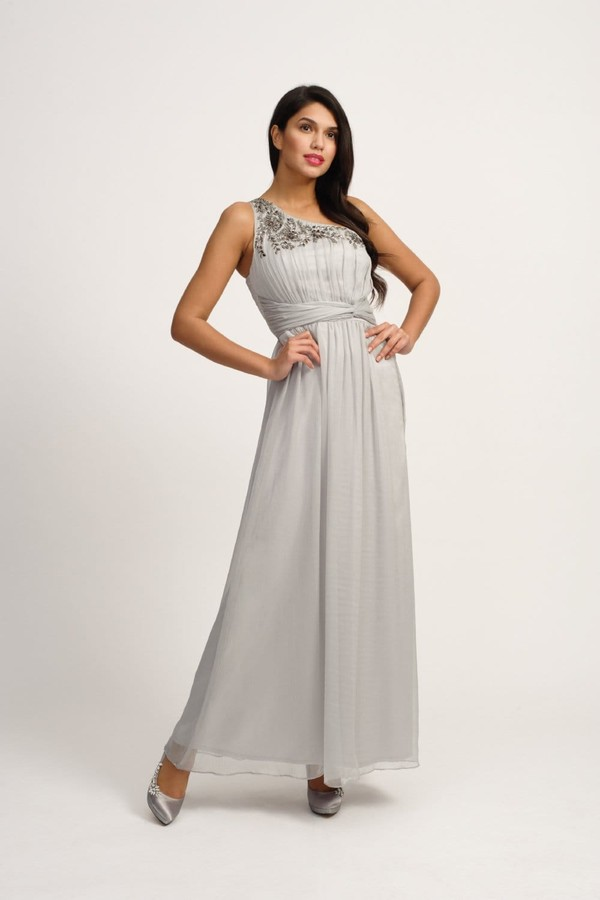 Thumbnail for your product : Little Mistress Grey Embellished One Shoulder Maxi Dress