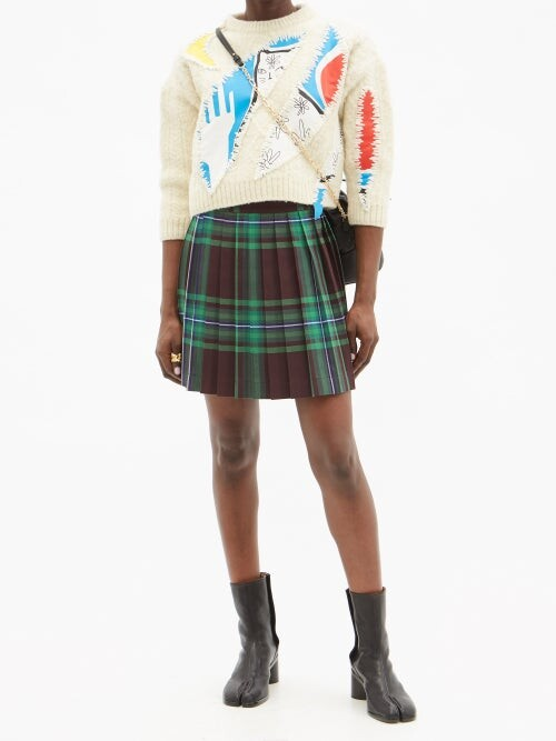 Thumbnail for your product : Charles Jeffrey Loverboy Pleated Tartan Wool Kilt - Green Print