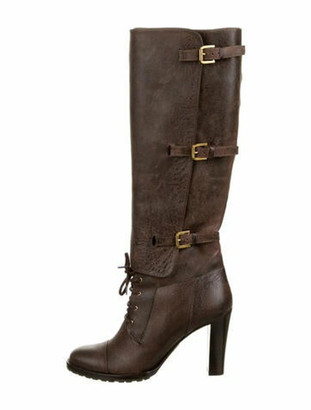 Ralph Lauren Collection Patent Leather Lace-Up Boots Brown