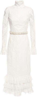 Zimmermann Veneto Embellished Ruffle-trimmed Guipure-lace Midi Dress