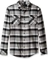 Neff Men's Elliot Long Sleeve Flannel Button up, Grey, XL