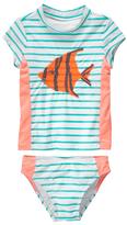 Gymboree White & Mint Stripe Embroidery Fish Rashguard Set - Girls
