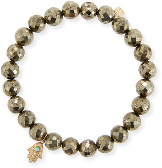 Sydney Evan 8mm Champagne Pyrite Beaded Bracelet with Diamond & Turquoise Hamsa