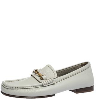 Saint Laurent Paris Off-white Leather Hook Detail Loafers Size 41