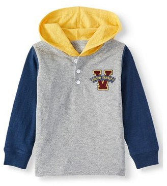 Wonder Nation Toddler Boy Long Sleeve Jersey Pullover Hooded T-shirt