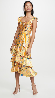 Marchesa Sleeveless Printed Charmeuse Tiered Cocktail Dress