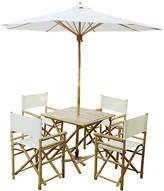 One Kings Lane Umbrella 6-Pc Square Dining Set - White