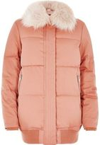 River Island Womens Pink puffer coat with faux fur trim
