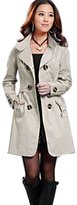 SoForYou SFY New Fashion Womens Slim Fit Trench Double-breasted Coat Jacket Outwear