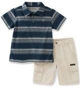 Calvin Klein Striped Polo and Cargo Shorts Set