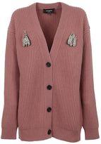 Rochas Bug Brooch Knitted Cardigan
