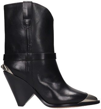 Isabel Marant Lamsy High Heels Ankle Boots In Black Leather