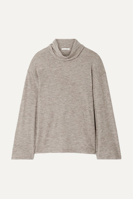 The Row Zalani Oversized Melange Stretch-cashmere Turtlneck Sweater - Beige
