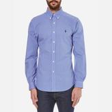 Polo Ralph Lauren Men's Long Sleeved Small Checked Shirt Blue/White