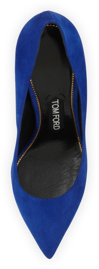 Tom Ford Suede Pointed-Toe Signature Pump, Cobalt
