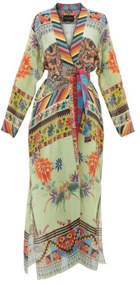 Etro Iris Collarless Patchwork-print Robe - Womens - Green Multi