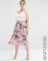 Asos Pleated Floral Midi Skirt