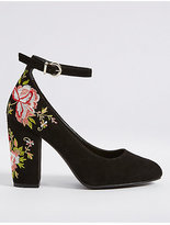 M&S Collection Block Heel Embroidered Court Shoes
