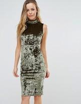 Wal G High Neck Velvet Bodycon Dress