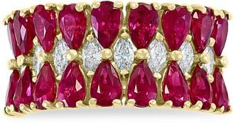 Effy 14K Yellow Gold Ruby & Diamond Tiered Ring