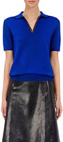 Maison Margiela Women's Zip-Front Short-Sleeve Sweater-BLUE