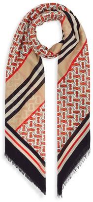 Burberry Monogram Stripe Wool & Silk Scarf