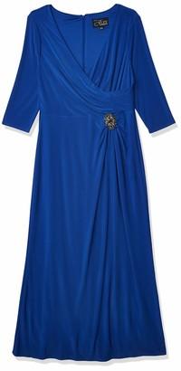 Alex Evenings Women's Long Beaded Cap Sleeve Gown