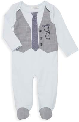 Miniclasix Baby Boy's Footed Tie & Vest Graphic Coveralls