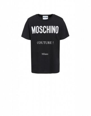 Moschino Cotton T-shirt With Couture Print Man Black Size 44 It - (34 Us)