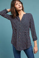 Maeve Printed Pintucked Blouse