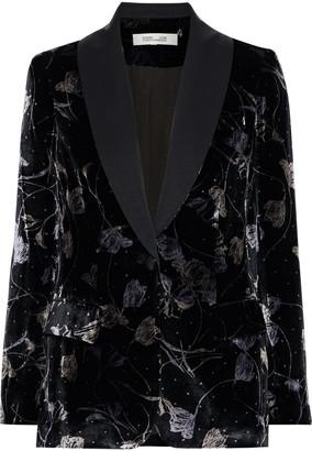 Diane von Furstenberg Tommy Satin-trimmed Printed Velvet Blazer
