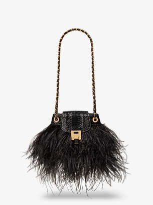 Michael Kors Bancroft Feather and Snakeskin Disco Pouch