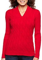 Liz Claiborne Long-Sleeve Cable & Ribbed Sweater
