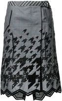 Sacai houndstooth jagged hem skirt - women - Cotton - 3