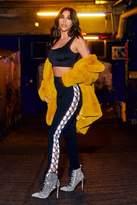 boohoo Faye Lace Up Side Loopback Jogger black