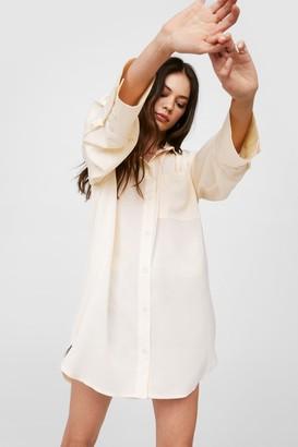 Nasty Gal Womens Starting Over-sized Mini Shirt Dress - Cream