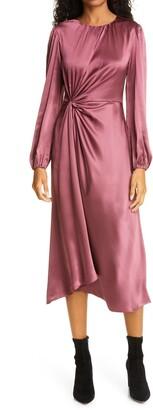 Cinq à Sept Wanda Long Sleeve Gathered Silk Midi Dress