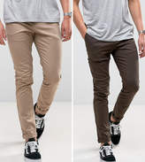 Asos 2 Pack Skinny Chinos In Brown & Stone SAVE