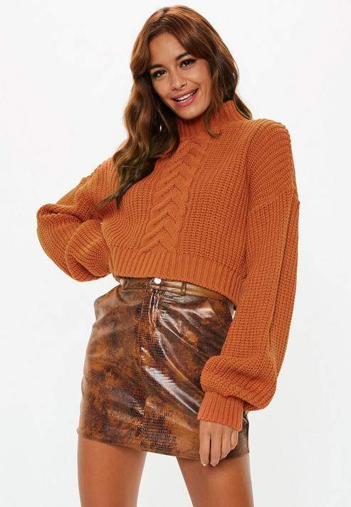 7428c5070d6 Petite Rust Balloon Sleeve Cable Knit Cropped Sweater