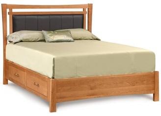 Copeland Furniture Monterey Upholstered Storage Platform Bed Copeland Furniture Size: California King, Frame Color: Smoke Cherry, Headboard Color: Ebony Leather
