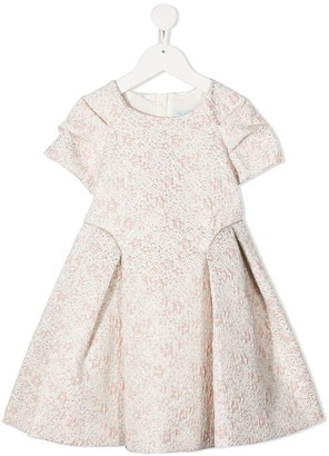 Abel & Lula Pleated Embroidered Floral Dress