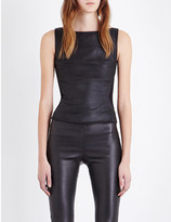 Gareth Pugh Zip-detail leather and stretch-knit top