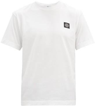 Stone Island Logo-embroidered Cotton-jersey T-shirt - White