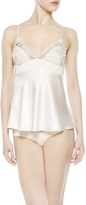 La Perla Petit Macrame Natural Satin Silk Vest Top