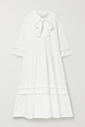 MM6 MAISON MARGIELA Pussy-bow Tiered Cotton-blend Jersey Midi Dress - White